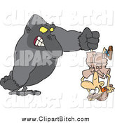 Clip Cartoon Art of a Mad Gorilla Holding a Man Upside down by Toonaday