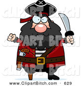 Clip Cartoon Art of a Plump Angry White Pirate Holding up a Fist and Sword by Cory Thoman