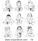 Clip Cartoon Art of a Set of Businessmen with Facial Expressions by Alex Bannykh