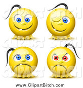 Clip Vector Art of 3d Yellow Smiley Faces with Pony Tails by Oligo