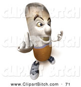 Clip Vector Art of a 3d Cigarette Character Holding up His Middle Finger and Facing Right by Julos