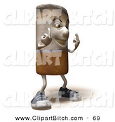 Clip Vector Art of a 3d Cigarette Character Holding up His Middle Finger and Facing Right on White by Julos