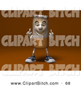 Clip Vector Art of a 3d Cigarette Character Holding up His Middle Finger on a Brown Background by Julos