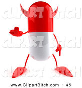 Clip Vector Art of a 3d Red Pill Character Holding up His Middle Finger in a Rude Gesture by Julos