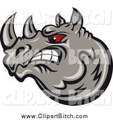 Clip Vector Art of a Angry Gray Rhino with Red Eyes by Vector Tradition SM