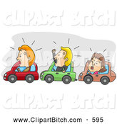Clip Vector Art of a Angry Men and Women Stuck in Rush Hour Traffic Jam by BNP Design Studio