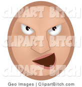 Clip Vector Art of a Beige Mean Emoticon Face Bully Grinning at Someone by AtStockIllustration