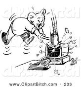 Clip Vector Art of a Black and White Outline of a Mad Koala Smashing a ComputerBlack and White Outline of a Mad Koala Smashing a Computer by Dennis Holmes Designs