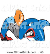 Clip Vector Art of a Blue Shark and Cassowary Bird Butting Heads by Dennis Holmes Designs