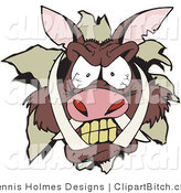 Clip Vector Art of a Brown Angry Boar's Head Breaking Through a Wall by Dennis Holmes Designs