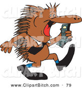 Clip Vector Art of a Brown Business Echidna Screaming at a Cell Phone by Dennis Holmes Designs
