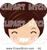 Clip Vector Art of a Brunette Caucasian Avatar Face Gritting Her Teeth by Melisende Vector
