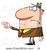Clip Vector Art of a Caucasian Man Pointing the Blame to Someone Else by Hit Toon