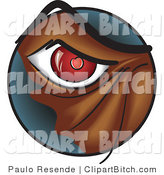 Clip Vector Art of a Closeup of a Red Eye of a Brown Angry Monster or Dog by Paulo Resende