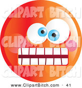 Clip Vector Art of a Crazy Mad Orange Emoticon Face and Weird Eyes by Prawny