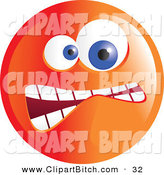 Clip Vector Art of a Crazy Mad Orange Emoticon Face on White by Prawny
