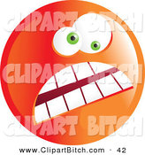 Clip Vector Art of a Crazy Mad Orange Emoticon Face with a Frown and Wide Eyes by Prawny