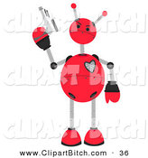 Clip Vector Art of a Cute and Springy Red Robot Holding a Gun by Mheld