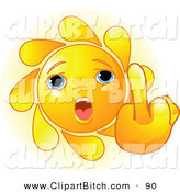 Clip Vector Art of a Cute Summer Sun Face Holding up a Middle Finger by Pushkin
