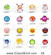 Clip Vector Art of a Digital Set of Colorful Moody Emoticons on White by NL Shop