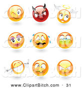 Clip Vector Art of a Digital Set of Emoticon Faces; Winking, Devil, Angel, Feminine, Crying, Holding Breath, Thumbs Up, Mad and Upset by TA Images