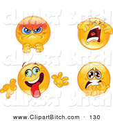 Clip Vector Art of a Digital Set of Pissed, Crying, Goofy and Terrified Emoticon Faces by Yayayoyo