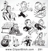 Clip Vector Art of a Digital Set of Retro Black and White Upset and Mad Businessmen by BestVector