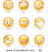 Clip Vector Art of a Digital Set of Shiny Yellow Moody Faces by TA Images