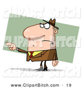 Clip Vector Art of a Frowning Caucasian Guy Pointing the Blame by Hit Toon