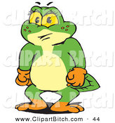 Clip Vector Art of a Frustrated Green Pollywog Character Clenching Hands by Dennis Holmes Designs