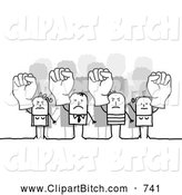 Clip Vector Art of a Group of Mad Stick People Holding up Fists by NL Shop