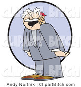 Clip Vector Art of a Grumpy Elderly Man, the Boss, Smoking a Cigar and Screaming at His Innocent Employees by Andy Nortnik