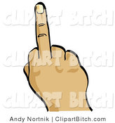 Clip Vector Art of a Hand Holding up the Middle Finger on White by Andy Nortnik