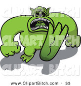 Clip Vector Art of a Huge Green Monster Throwing a Temper Tantrum and Stomping Forward by Zooco