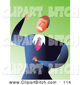 Clip Vector Art of a Mad Caucasian Businessman Clenching His Fist and Scowling by Prawny