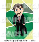 Clip Vector Art of a Mad Caucasian Businessman Holding a Briefcase and Looking up by Mayawizard101