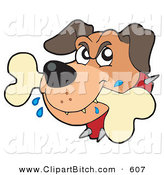 Clip Vector Art of a Mad Dog Drooling on a White Bone by Visekart