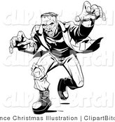 Clip Vector Art of a Mad Frankenstein Lunging Forward to Attack, His Massive Hands Extended Towards the Viewer by Lawrence Christmas Illustration