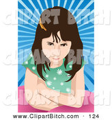 Clip Vector Art of a Mad Girl on a Blue Burst by Mayawizard101