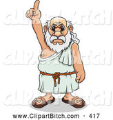 Clip Vector Art of a Mad Greek Man Pointing up by Vector Tradition SM