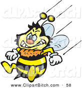 Clip Vector Art of a Mad Honey Bee Character Flying with His Stinger at the Ready by Dennis Holmes Designs