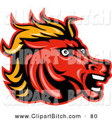 Clip Vector Art of a Mad Horse Head Logo Looking Right by Patrimonio