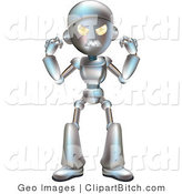 Clip Vector Art of a Mad Metallic Robot Character Waving His Fists by AtStockIllustration