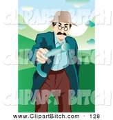 Clip Vector Art of a Mad Old Man Waving His Cane Around on Green by Mayawizard101