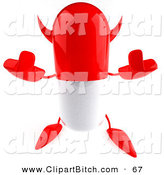 Clip Vector Art of a Mean 3d Red Pill Character Holding up His Middle Finger by Julos