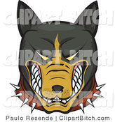 Clip Vector Art of a Mean and Aggressive Growling Brown and Black Pitbull Wearing a Spiked Collar and Bearing His Teeth by Paulo Resende
