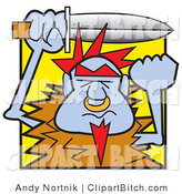Clip Vector Art of a Mean Troll Man with Spikey Red Hair and a Goatee, Holding up a Fist and a Sword by Andy Nortnik