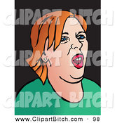 Clip Vector Art of a Pop Art Styled Red Haired Woman with an Attitude on Black by Prawny