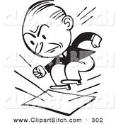 Clip Vector Art of a Retro Black and White Businessman Stomping on Documents on White by BestVector