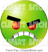 Clip Vector Art of a Scary Green Emoticon Face with Red Eyes, Gritting Its Teeth, Symbolizing Anger and Bullying by Tonis Pan
